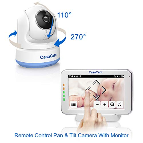 """41AVB7LtSSL CasaCam BM200 Video Baby Monitor with 5"""" Touchscreen and HD Pan & Tilt Camera, Two Way Audio, Lullabies, Nightlight, Automatic Night Vision and Temperature Monitoring Capability    Product Description"""