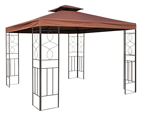WASSERDICHTER Pavillon 3x3m BRAUN ROMANTIKA inkl. 310g/m² Dach Festzelt wasserfest Partyzelt