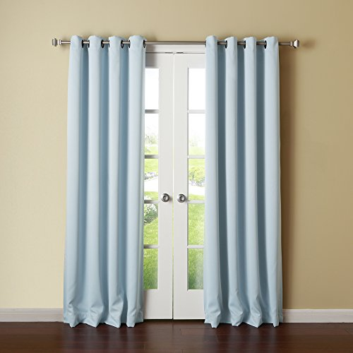 Best Home Fashion Thermal Insulated Blackout Curtains - Antique Bronze (Light Blue Gold Rim)