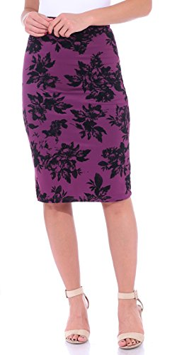 (Popana Women's Stretch Pencil Skirt Knee Length High Waist for Work Made in USA Large Eggplant)