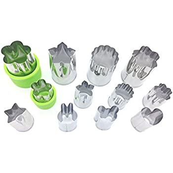 IoneStar Vegetable Fruit Cutters Shapes Set(12Pc) for Kids,Mini Bulk Metal Stainless Steel Cookie Cutters Cheese Presses, Flower Star Heart Animals Shaped Mold for Decorative Customizing Tools Kit