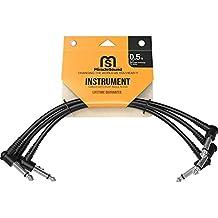Miracle Sound Cable de conexión de guitarra para efectos de pedalera con enchufe en ángulo recto de 0.5pies (3paquetes) ideal para guitarra eléctrica y cable Livewire para bajo
