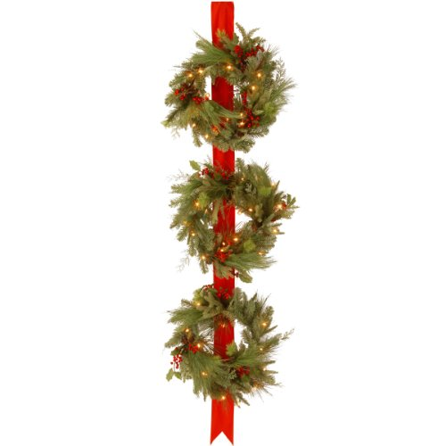 National Tree 77 Inch Decorative Collection Triple Wreath Door Hang with 150 Clear Lights (DC13-114L-18W) (Clear Lights Tips 150)