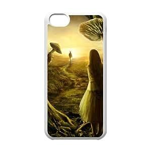 Alice in Wonderland Funda iPhone 5c Funda Caja del teléfono celular negro D9R7GE Cubierta del teléfono de la mota