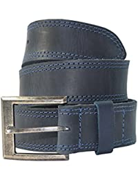 Men's Two Row Stitch Leather Belt Handmade by Hide & Drink :: Slate Blue