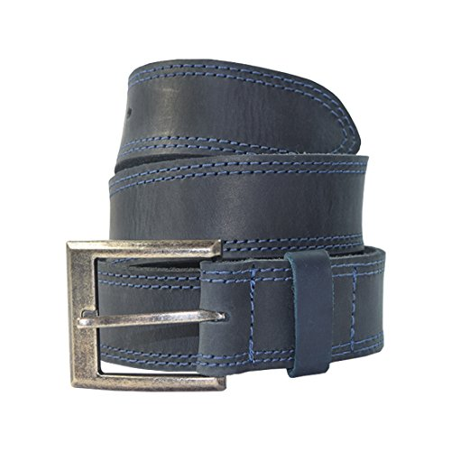 - Men's Two Row Stitch Leather Belt Handmade by Hide & Drink :: Slate Blue (Size 32)