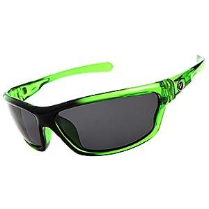 Nitrogen Men's Rectangular Sports Wrap 65mm Green Polarized Sunglasses