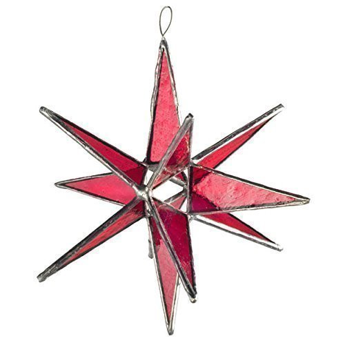 Decorative Window Delicate (Pink Star, Moravian Stained Glass Star, Bright Pink Star, Twelve Pointed Star)