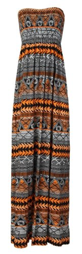 Black Aztec Women's Fashion Orange Sheering Plain Maxi Tube Ditzy Boob Dress vw5xFqvdz