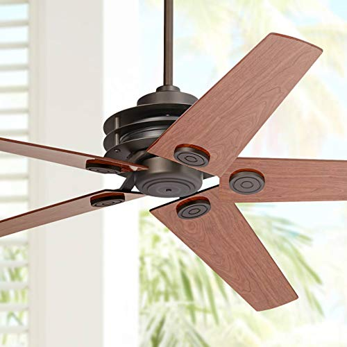 """60"""" Casa Venue Mission Ceiling Fan with Remote Control Oil Rubbed Bronze Cherry Walnut Damp Rated for Patio Porch - Casa Vieja"""