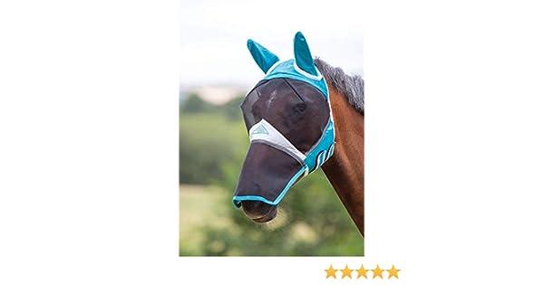 Ecuestre Shires M/áscara de Malla Fina con Orejas y extensi/ón de Nariz Color Verde Azulado XS Pony