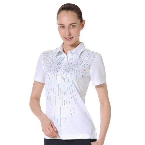 - Monterey Club Ladies' Dry Swing Geometric Rain Drop Print Shirt #2597 (White/Kelly Green, Medium)