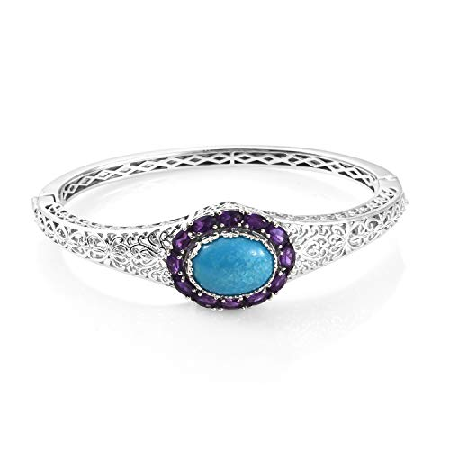 925 Sterling Silver Platinum Plated Turquoise Amethyst Bridal Bangle Cuff Bracelet for Women 7.25