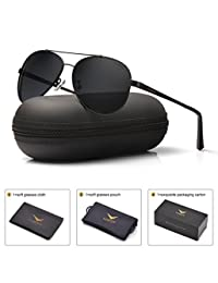 LUENX Men Women Aviator Sunglasses Black Polarized Metal Frame UV 400 60MM