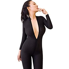 Kingmistres Sexy Sheer Opaque Front Zip Vertical Stripes Spandex Zentai Catsuit Bodysuit Night Club Costume One Size