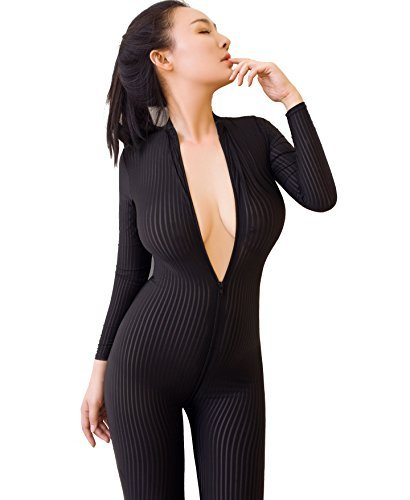 Sexy Sheer Opaque Front Zip Vertical Stripes Spandex Zentai Catsuit Bodysuit Night Club Costume (One Size) Black Opaque Vertical Stripes