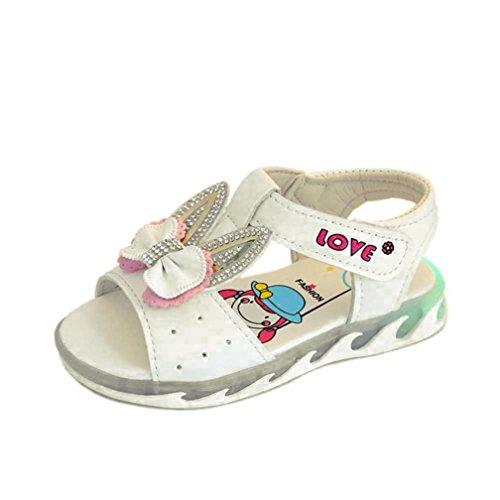 Clode® Kinder Infant Kinder Mädchen Kristall Bowknot Licht Sandalen Casual  Einzelne Schuhe Weiß