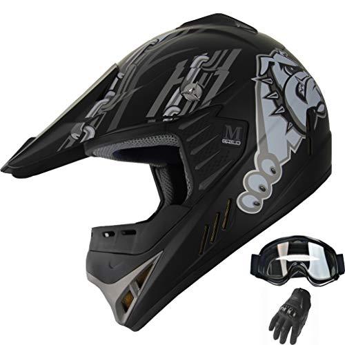(Kid Youth ATV Motocross Dirt Bike Off-road Helmet Mountain Bike Helmet+Goggles+Gloves Combo (Y96 Matt Black,)