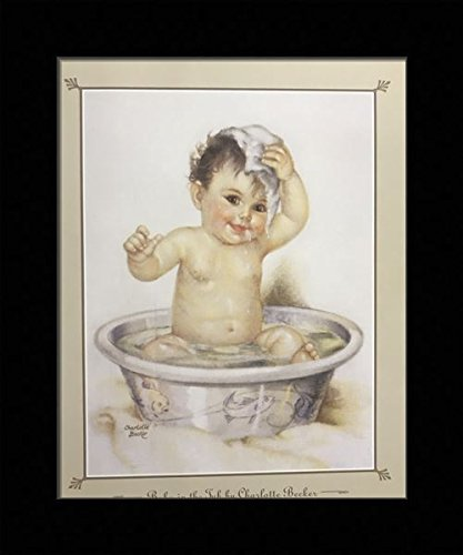 (Black 1 inch Framed with Baby in Bath TUB, (Kids/Baby / Bathroom / 24-8X10-A) 8x10 Inch Charlotte Becker, Art Print & Poster)