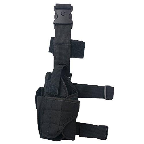 Tactical Leg Holster - Adjustable Pistol Hand Gun Drop Leg Thigh Holster Harness W/ Magazine Pouch Left Handed Bundled With Skull Face Tube Mask(Black Left Leg Holster)