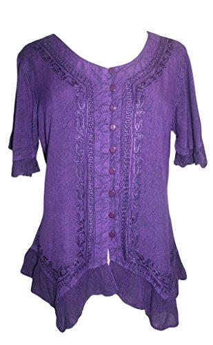 Agan Traders 305 B Medieval Bohemian Embroidered Button Down Shirt Blouse