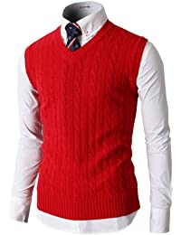 Mens Casual Soft Acrylic Knitted Solid Pullover Cable Sweater Links-Vest