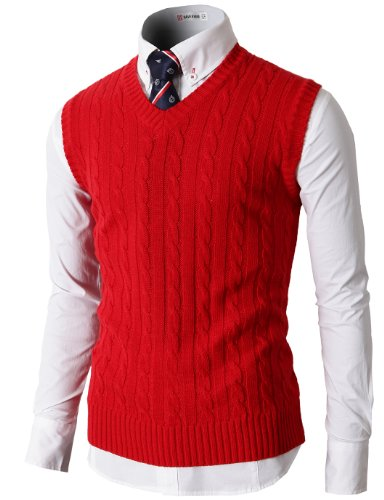 H2H Mens Twisted Yarn Cable Knit Sweater Jumper Vest with Twisted Patterned RED US L/Asia XL (KMOV037)