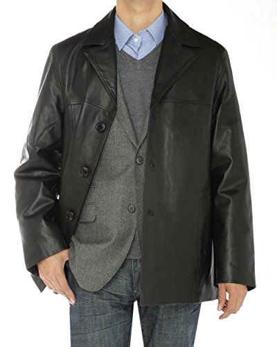 LN LUCIANO NATAZZI Men's Lambskin Leather Top Coat 3 Button Overcoat Blazer Jacket (Large/US 40-42,Black)