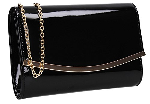 Prom Clutch Patent Lilo Ladies SWANKYSWANS Flapover Bag Black Womens Faux Leather Party a8xp1