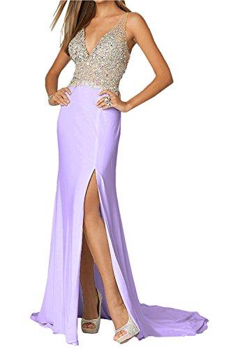 Lilac Elegant Lang Zahlreichen Steine mia mit La V Partykleider Abendkleider Ballkleider Festlichkleider Braut Ausschnitt Rot UO6gx