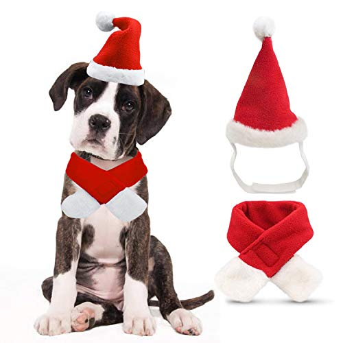 Ollypet Dog Cat Christmas Costume Set Santa Claus Hat and Scarf for Pet Outfit for Small Dogs Cute Fleece Hat Party Event Apparel Funny Clothes Accessory