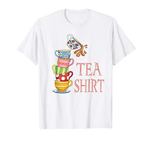 TEA SHIRT PUN Cute And Fun Teacups In A Tall Pile Of Cups T-Shirt