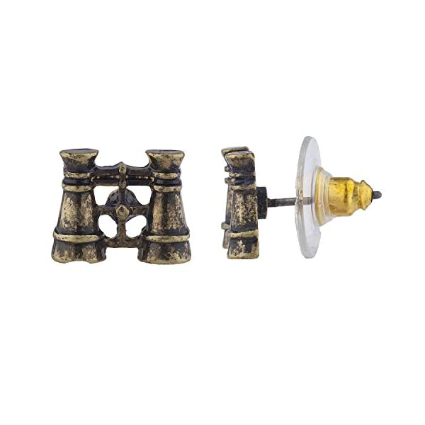 Lux Accessories Burnish Gold Tone Steampunk World Traveler Stud Multi Pack 3PR 4