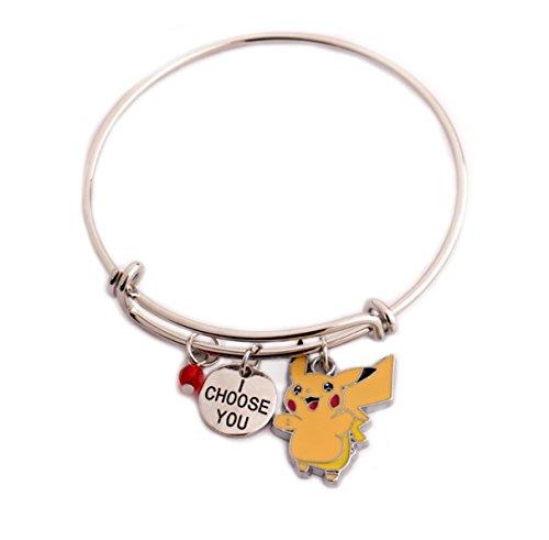 (Pokemon Go Message Expandable Silver Bracelet Bangle I Choose You Pendant Anime Pikachu and Crystal Charms Game/Cartoon Cosplay Geekery)