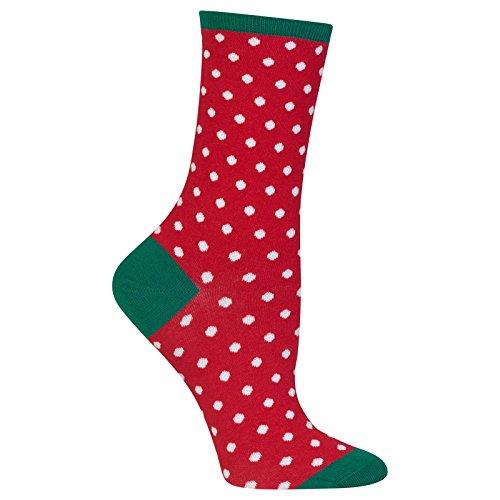 Hot Sox Women's Originals Classics Crew Socks, Small Polka Dots (Red), Shoe Size 4-10/Sock Size 9-11 (Red Dot Hot)