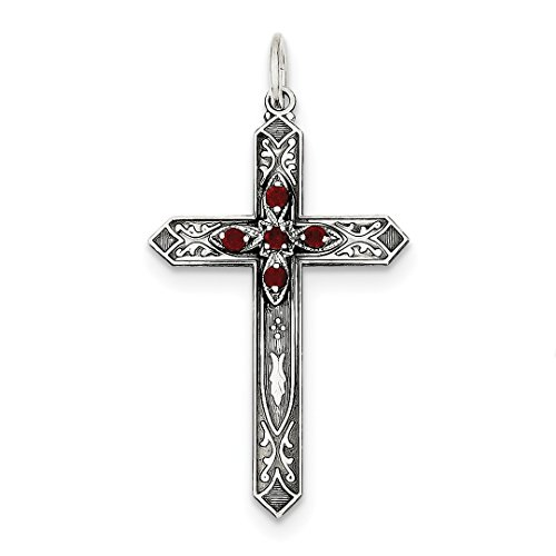 ICE CARATS 925 Sterling Silver January Birthstone Cross Religious Pendant Charm Necklace Fine Jewelry Ideal Gifts For Women Gift Set From Heart (January Birthstone Cross)