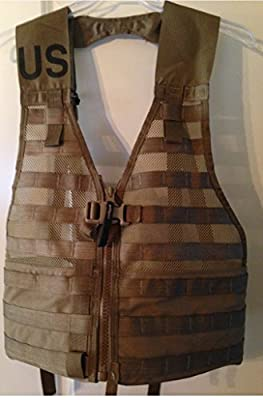 U.S. Government Contractor MOLLE II USMC Tactical Vest, Fighting Load Carrier with Zipper, Coyote Brown