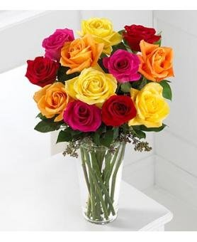 One Dozen Rainbow Roses (with FREE glass vase) - Flowers