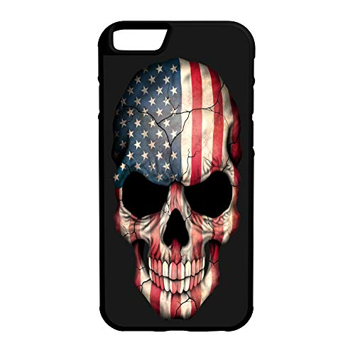 - 407Case Compatible with iPhone 6 Plus+ American Flag Skull Protective Hybrid Rubber Phone Case (iPhone 6 Plus+)