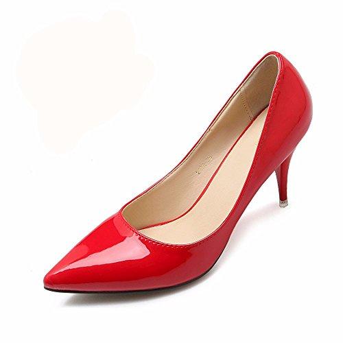 HXVU56546 El Nuevo Y Elegante Y Atractivo Tacones Altos Durante La Primavera Y El Otoño Solo Zapatos Zapatos De Mujer Zapatos De Trabajo The Red