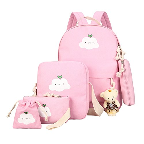 Body Cloud Cross - MileMelo Backpack and Cross-body Bag Kit Cute Cloud Pattern School Bag 6 Pieces Set