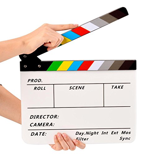 Pesters Acrylic Film Clapboard, Dry Erase Director Film Movie Clapper Board Cut Action Scene Clapper Board Slate with Color Sticks, 11.6 x 9.5 x 0.7'' (US STOCK) (Type_1) (Movie Scene Board)