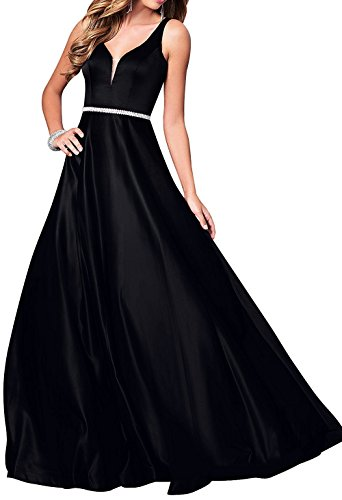 c77af971c5 Dannifore Sleeveless Black Satin Prom Evening Dress Long Bridesmaid Gown  Beaded Size 16