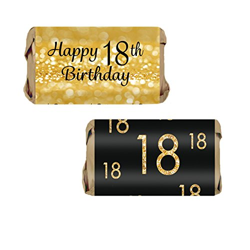 18th Birthday Party Mini Candy Bar Wrappers, Black and Gold (54 Stickers) ()
