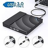 External CD DVD Drive,AUCEE USB 3.0 Type C Dual Port Slim Portable External CD DVD Rewriter Burner Writer, High Speed Data Transfer Touch Control External USB Optical Drives for Laptop/Macbook/Desktop