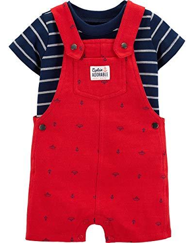 Carter's 2-Piece Striped Tee & Anchor Shortalls Set Size 24 Months Red Blue