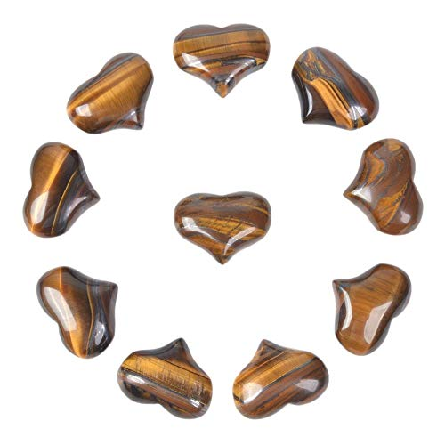 Justinstones Natural Yellow Iron Tiger Gemstone Healing Crystal 1 inch Mini Puffy Heart Pocket Stone Iron Gift Box (Pack of 10) (Iron Stone)