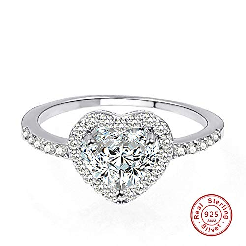 Spring Collection 925 Sterling-Silver-Jewelry | Sparkling Love Heart Rings | Jewelry for Gift