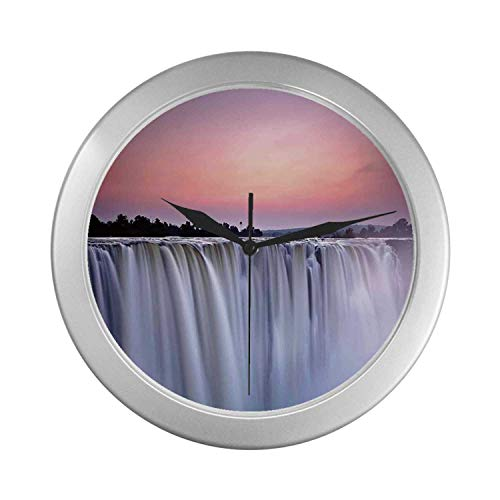 C COABALLA Waterfall Simple Silver Color Wall Clock,Grand Majestic Waterfalls View at Sunset in Africa Wild Mist Exotic Land Photo for Home Office,9.65