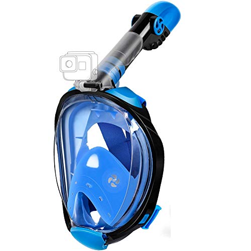 Adjustable Mask - MADETEC Full Face Snorkel Mask for Adult, Snorkeling Swimming Mask Set with 180°Panoramic View, Adjustable Head Straps,Detachable Camera Mount, Anti-Fog and Anti-Leak (Blue, Small/Medium)